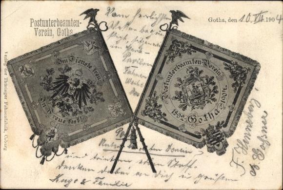 Ak Gotha im Thüringer Becken, Postunterbeamten Verein, Standarten