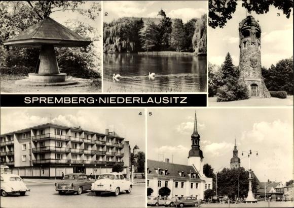 Ak Spremberg in der Niederlausitz, Georgenberg, Schwanenteich, Schloss, Georgenbergturm, Marktplatz