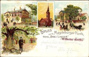 Litho Magdeburgerforth Möckern im Jerichower Land, Stadtansichten
