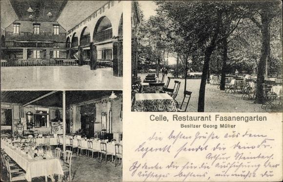 Ak Celle in Niedersachsen, Restaurant Fasanengarten, Bes. Georg Müller