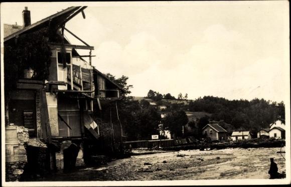 Ak Lauenstein im Müglitztal Altenberg, Partie am Bahnhof, Unwetter 8. Juli 1927