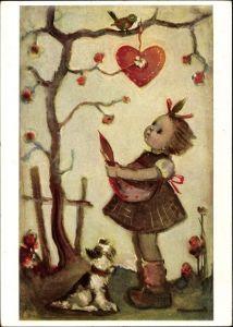 Künstler Ak Hummel, Berta, Nr. 5435, Lieb Vögelein ich bitte dich, Herz, Mädchen, Hund