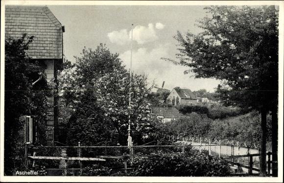 Ak Ascheffel in Schleswig Holstein, Teilansicht des Ortes, Wohnhaus, Garten, Windmühle