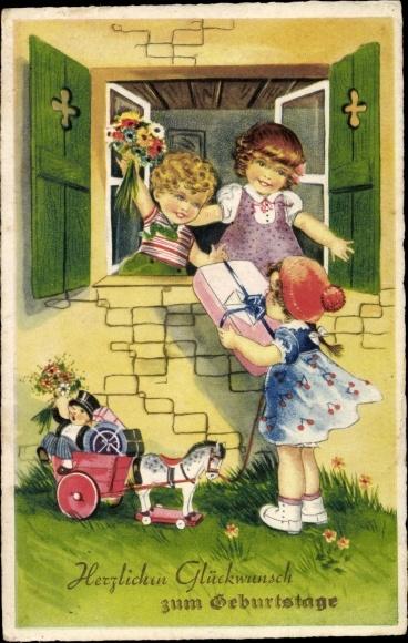 Ak Glückwunsch Geburtstag, Kinder mit Blumen und Geschenken, Spielzeugpferd, Puppe