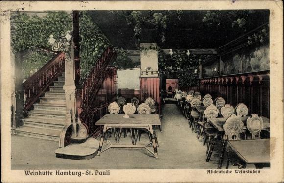 Ak Hamburg Mitte St. Pauli, Weinhütte, Altdeutsche Weinstube, Innenansicht