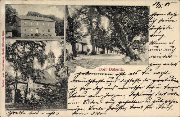 Ak Dallgow Döberitz im Havelland, Partien im Dorf Döberitz, Kirche, Straße