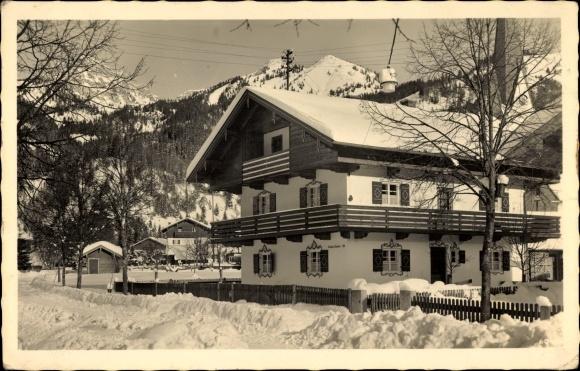 Ak Bayrischzell im Mangfallgebirge Oberbayern, Winteraufnahme, Fremdenheim