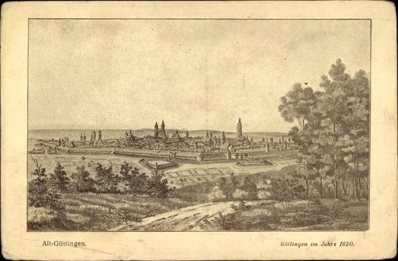 Künstler Ak Göttingen in Niedersachsen, Blick auf Göttingen im Jahr 1650