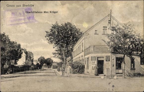 Ak Breddin Brandenburg, Geschäftshaus Max Krüger, Straßenpartie