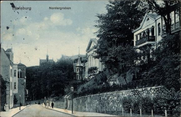 Ak Flensburg in Schleswig Holstein, Partie am Nordergraben