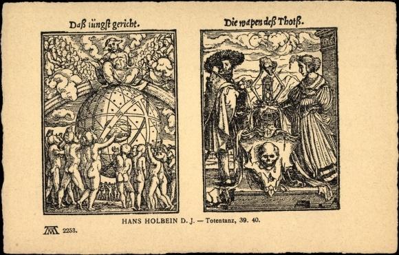 Künstler Ak Holbein, Hans d. J., Totentanz 39 40, Ackermann 2253, Tod, das jüngste Gericht