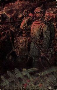 Künstler Ak Wohlfahrtskarte zum Besten der Kriegsblindenstiftung, Soldat mit Trompete, I. WK
