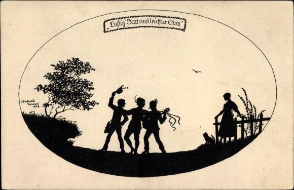 Scherenschnitt Ak Forck, Elsbeth, Lebensfreude, Lustig Blut und leichter Sinn