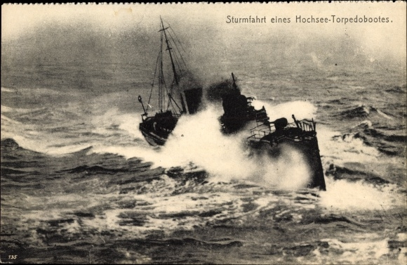 Ak Deutsches Kriegsschiff, Torpedoboot im Sturm, Starker Wellengang