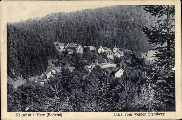 Ak Neuwerk Rübeland Oberharz am Brocken, Stadtansicht vom weißen Stahlberg