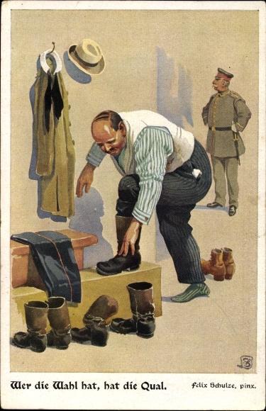 Künstler Ak Schulze, Felix, Wer die Wahl hat, hat die Qual, Soldat, Schuhe