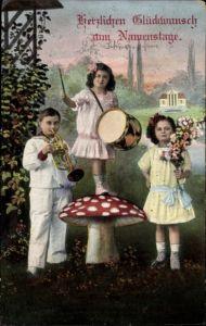 Ak Glückwunsch namenstag, Kinder mit Trompete und Trommel, Fliegenpilz, Blumen