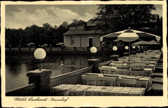 Ak Lindhardt Naunhof im Kreis Leipzig, Terrassenpartie, Mühle