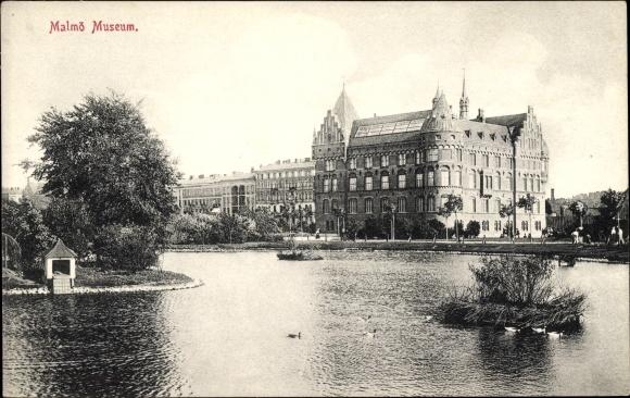 Ak Malmö Schweden, Wasserblick zum Museum, Vogelinsel