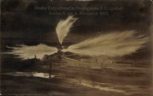 Ak Hamburg Bergedorf Neuengamme, Erdgasbrand, Ausbruch am 4. November 1910