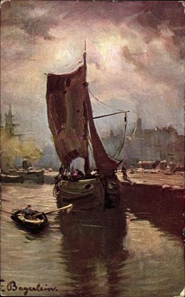 Künstler Ak Bayerlein, Fritz, Fischerboot im Hafen, Hafenszene
