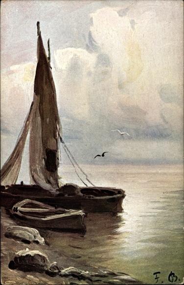 Künstler Ak Bayerlein, Fritz, Fischerboote am Ufer, Möwen
