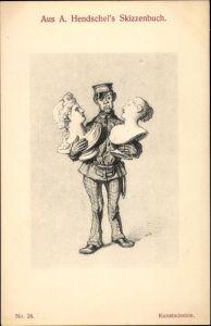 Künstler Ak Hendschel, Albert, Kunstmission, Museumswächter mit Büsten