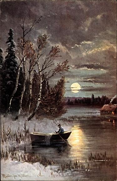 Künstler Ak Müller jun., M., Nachtszene, Ruderboot, Winter