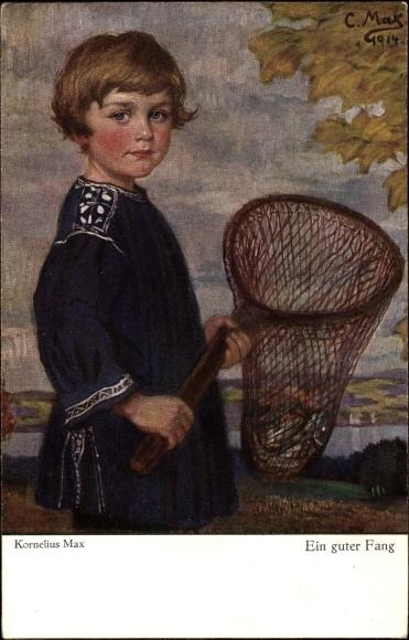 Künstler Ak Corneille Max, Ein guter Fang, Kind mit Fangnetz, Primus 3046