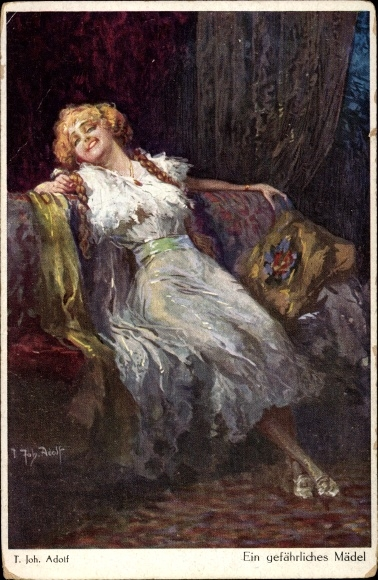Künstler Ak Adolf, T. Joh., Jodolfi, Ein gefährliches Mädel, Verführerische Frau
