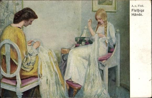 Künstler Ak von Fink, A., Fleißige Hände, Mutter und Tochter beim Nähen