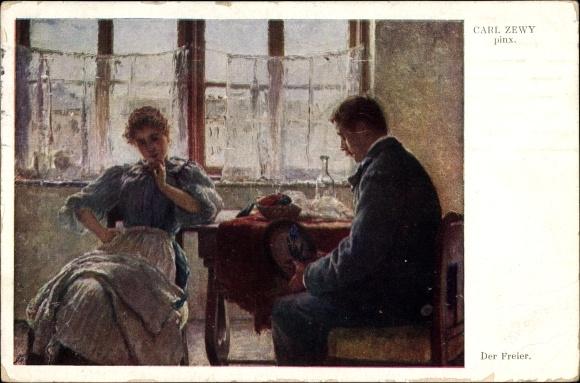 Künstler Ak Zewy, Carl, Der Freier, Mann und Frau am Fenster sitzend