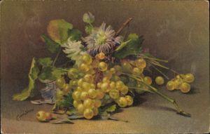 Künstler Ak Sivers, Stillleben mit Weintrauben und Astern