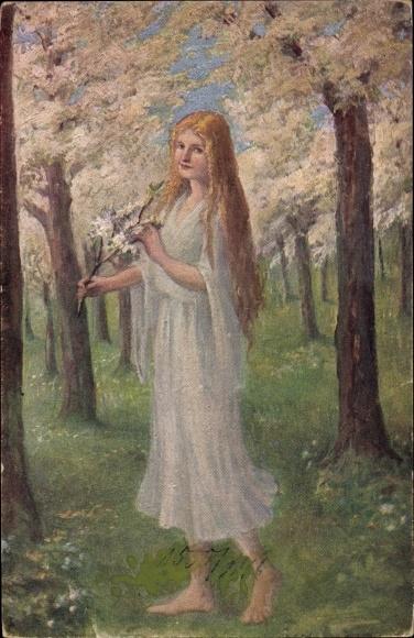Künstler Ak Heydenbluth, Unter Blüten, Blonde Frau in weißem Kleid, barfuß