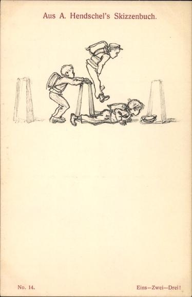 Künstler Ak Hendschel, Albert, Skizzenbuch No 26, Eins zwei drei, Bocksprung