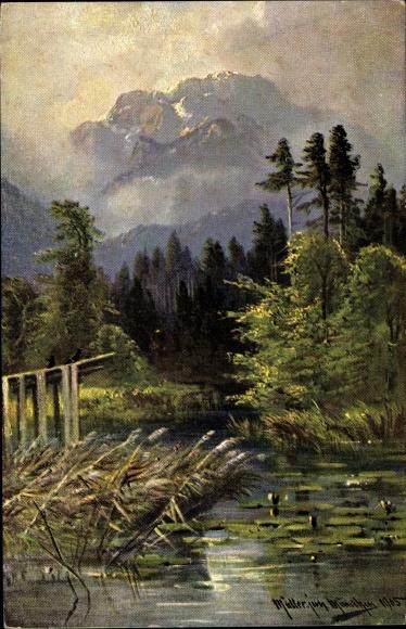 Künstler Ak Müller, M. jun., Landschaftsansicht, Blick über ein Gewässer ins Gebirge mit Seerosen