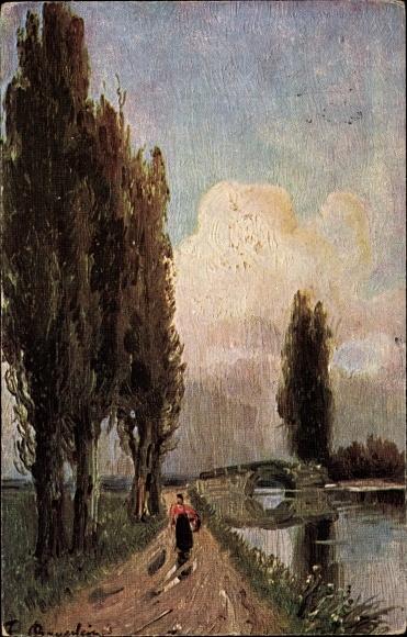 Künstler Ak Bayerlein, F., Frau auf einem Uferweg, Brücke, Bäume, Landschaft