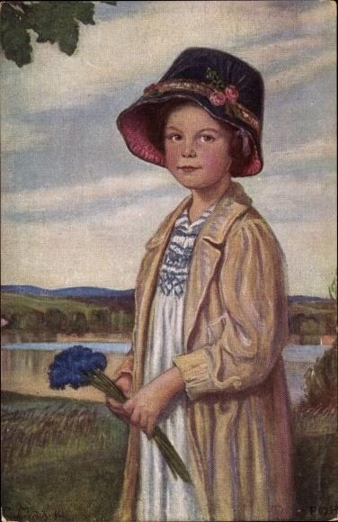 Künstler Ak Max, Corneille, Portrait von einem kleinen Mädchen mit Kornblumen