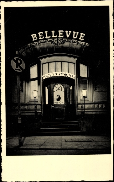 Ak Hamburg Mitte Altstadt, Hotel Bellevue, Bar Schwarze Jule, An der Alster 14, Nachtaufnahme