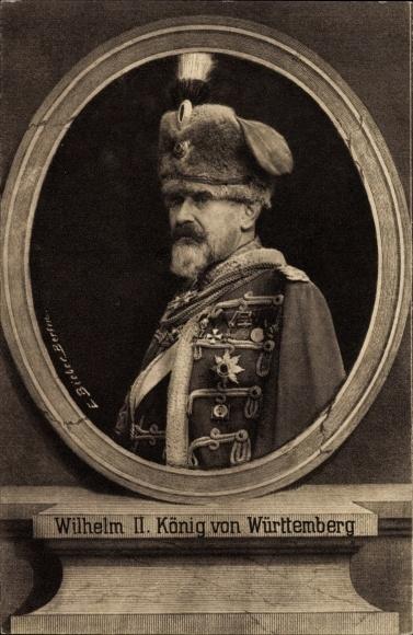 Passepartout Ak Wilhelm II, König von Württemberg, Husar, Wohlfahrtskarte, I. WK