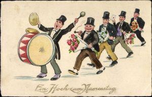 Ak Glückwunsch Namenstag, Männer in Anzügen, Pauke, Blumensträuße