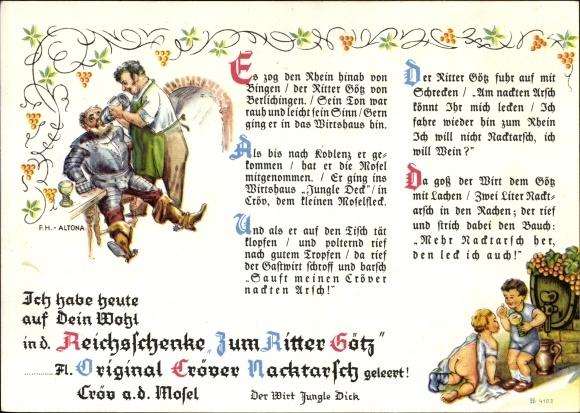 Gedicht Ak Kröv Rheinland, Reichsschenke zum Ritter Götz, Cröver Nacktarsch, Wirt Jungle Dick