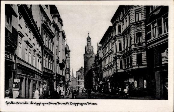 Ak Halle an der Saale, Blick in die Leipziger Straße mit Leipziger Turm