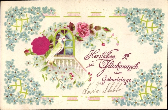 Material Präge Litho Glückwunsch Geburtstag, Vergissmeinnicht, Taube, Rose