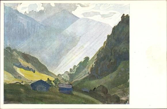 Künstler Ak Welti, Albert, Nr. 209, Der Lichtblick ins Tal, Gebirgslandschaft