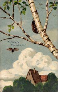 Litho Glückwunsch Pfingsten, Maikäfer an einem Baumstamm, Haus, Wolken