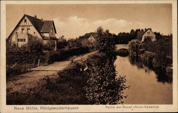Neue Mühle Königs Wusterhausen in Brandenburg, Partie am Kanal, Klein Venedig, Brücke