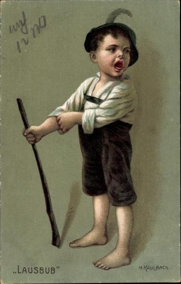 Künstler Litho Kaulbach, Hermann, Lausbub, kleiner frecher Bauernjunge