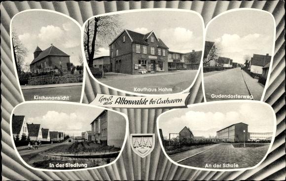 Ak Altenwalde Cuxhaven in Niedersachsen, Kirche, Kaufhaus Hahm, Schule, Siedlung, Gudendorfer Weg