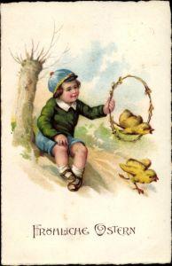 Litho Glückwunsch Ostern, Küken springt durch einen Reifen